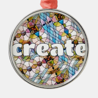 Words of Inspiration - Create Silver-Colored Round Decoration