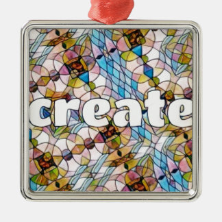 Words of Inspiration - Create Silver-Colored Square Decoration
