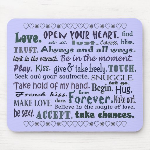 Words of Love art collage mouse pad