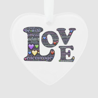 Words of Love Heart Christmas Ornament