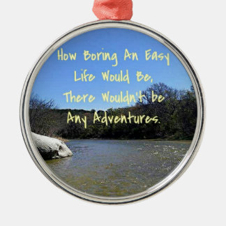Words of Wisdom Over River Nature Landscape Silver-Colored Round Decoration