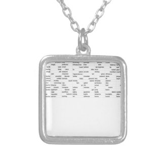 words silver plated necklace