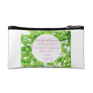 Words to inspire makeup bag