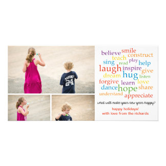 Words x3 custom photo card