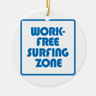 Work Free Surfing Zone Round Ceramic Decoration