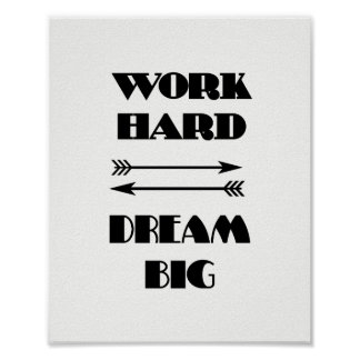 WORK HARD  DREAM BIG Quote Text Black And White Poster