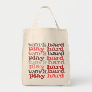 work hard play hard grocery tote grocery tote bag