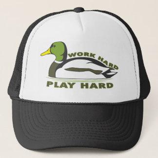 Work Hard Play Hard Mallard Duck Trucker Hat
