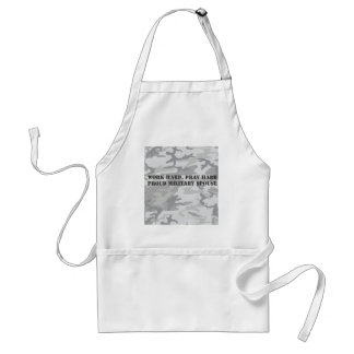 work hard, pray hard. proud military spouse aprons