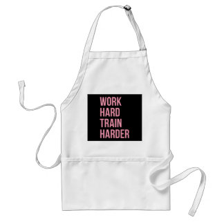 Work Hard Train Harder Fitness Quote Black Pink Apron