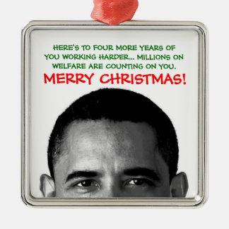 Work Harder Christmas Barack Obama Metal Ornament
