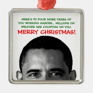 Work Harder Christmas Barack Obama Silver-Colored Square Decoration