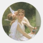 Work Interrupted by Bouguereau, Vintage Angel Art Stickers