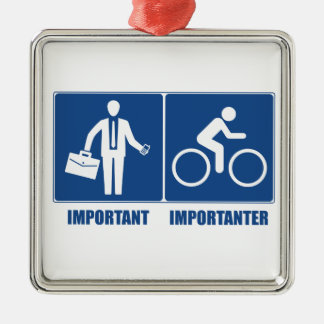 Work Is Important, Cycling Is Importanter Metal Ornament