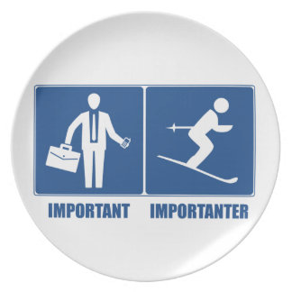 Work Is Important, Skiing Is Importanter Plate