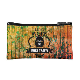 Work less Travel more with wooden texture bag