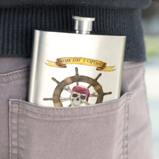 Work Like a Captain Party Like a Pirate Hip Flask