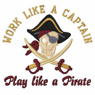 Work Like A Captain Play Like A Pirate Embroidery Polo