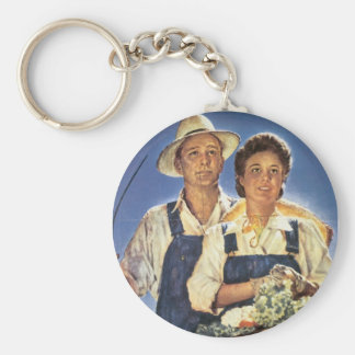 Work on a Farm...This Summer Basic Round Button Key Ring