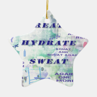 Work Out Body Building Gal at the Gym Breath Sweat Ceramic Star Decoration