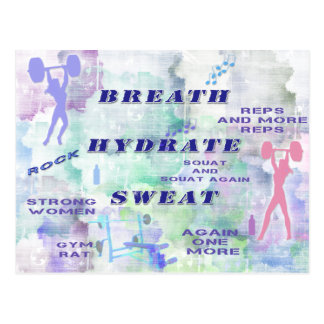 Work Out Body Building Gal at the Gym Breath Sweat Postcard