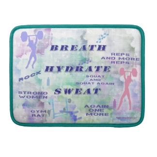Work Out Body Building Gal at the Gym Breath Sweat Sleeve For MacBooks