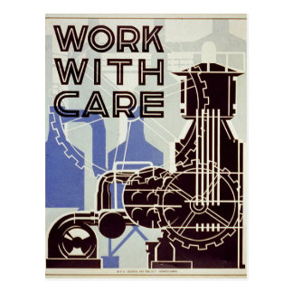 Work With Care - 1936 Postcard