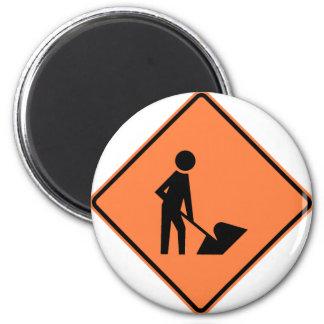 Work Zone Highway Construction Sign 6 Cm Round Magnet
