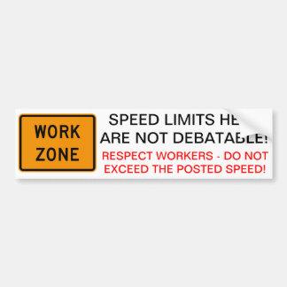 Work Zone Speed Bumper Sticker
