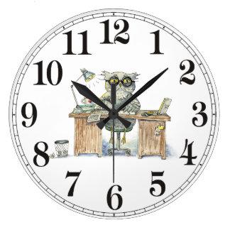 Workaholic night owl large clock