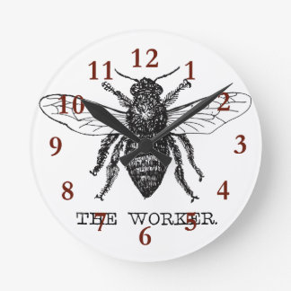 Worker Bee Bumblebee Honey Antique Illustration Round Clock