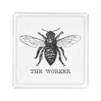 Worker Bee Bumblebee Vintage Motivational Acrylic Tray