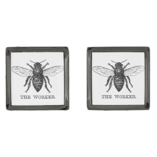 Worker Bee Bumblebee Vintage Motivational Gunmetal Finish Cufflinks