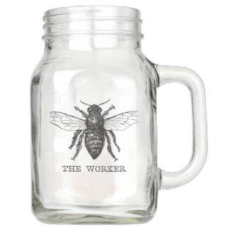 Worker Bee Bumblebee Vintage Motivational Mason Jar