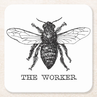 Worker Bee Bumblebee Vintage Motivational Square Paper Coaster