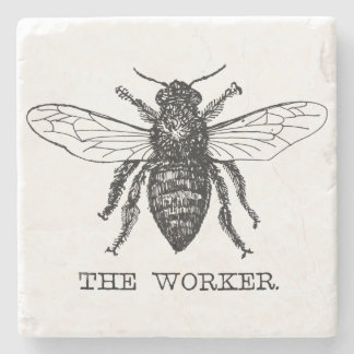 Worker Bee Bumblebee Vintage Motivational Stone Coaster