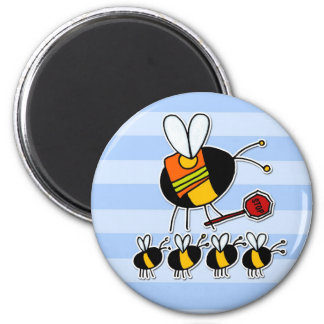 worker bee - crossing guard 6 cm round magnet