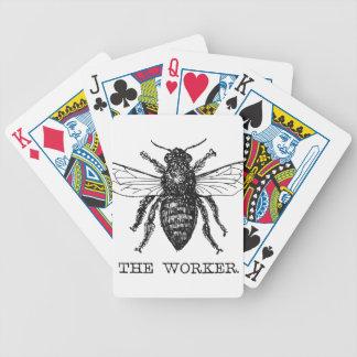 Worker Bee Honeybee Vintage Black Art Illustration Bicycle Playing Cards