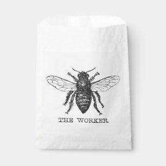 Worker Bee Honeybee Vintage Black Art Illustration Favour Bag