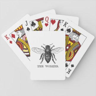 Worker Bee Honeybee Vintage Black Art Illustration Playing Cards