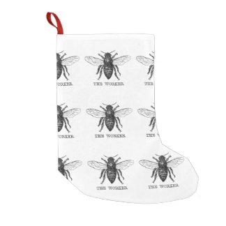 Worker Bee Honeybee Vintage Black Art Illustration Small Christmas Stocking