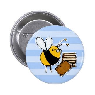 worker bee - librarian 6 cm round badge