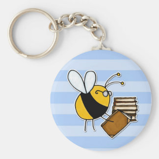 worker bee - librarian basic round button key ring