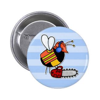 worker bee - lumberjack 6 cm round badge