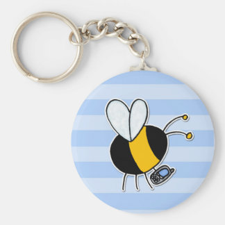 worker bee - phone sales basic round button key ring