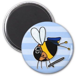worker bee - police officer 6 cm round magnet