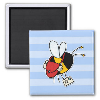 worker bee - postal worker square magnet