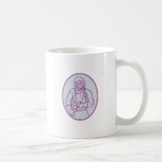 Worker Haz Chem Suit Oval Mono Line Coffee Mug