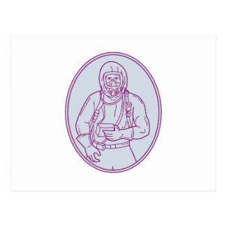 Worker Haz Chem Suit Oval Mono Line Postcard