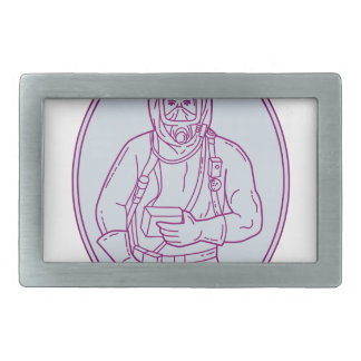 Worker Haz Chem Suit Oval Mono Line Rectangular Belt Buckles